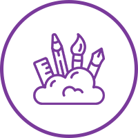 Small purple icon of various art tools