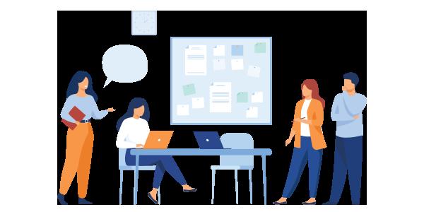 Cartoon image of coworkers having a meeting